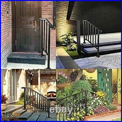 SPACEUP Step Handrail Fit for 2 or 3 Steps Wrought Iron Handrail for Outdoor
