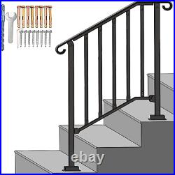 SPACEUP Step Handrail Fit for 2 or 3 Steps Wrought Iron Handrail for Outdoor Kit