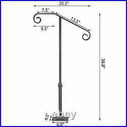 Single Post Handrail Fits 1 or 2 Steps Handrail Wrought Iron Single Post Gray