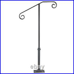 Single Post Handrail Wrought Iron 1-2 Steps Gray Base Grab Support Railing Home
