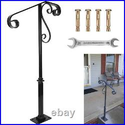 Single Post Handrail Wrought Iron Fits 1 or 2 Steps Grab Rail for Steps Porch