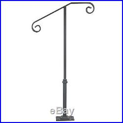 Single Post Handrail Wrought Iron Fits 1 or 2 Steps Matte Gray Grab Railing