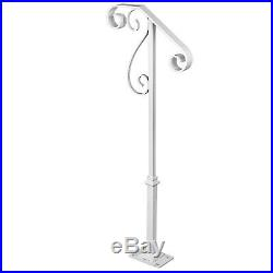 Single Post Handrail Wrought Iron fits 1-2 Steps Step Grab Supports Rustproof