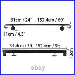 Stair Handrail Stair Rail 2ft-5ft Two-Five Step Handrail for Stairs Wrought Iron