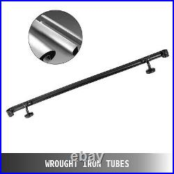 Stair Handrail Stair Rail 3ft Three Step Handrail for Stairs Wrought Iron Black