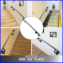 Stair Handrail Stair Rail 4ft 4 Step Handrail for Stairs Wrought Iron Black