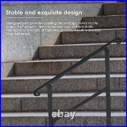 TTLIFE Wrought Iron Handrail Stair Railing Fit 1 or 3 Steps Outdoor Hand Rail