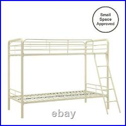 Twin Over Twin Metal Bunk Bed Full-length Guardrails Built-in Ladder Teens Room