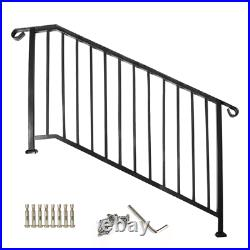 Used Wrought Iron Handrail 8ft Picket fit 4 or 5 Steps Stair Railing Handrails