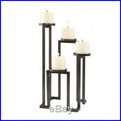Uttermost 18586 Natalie 18.13 inch Stepped Candleholder Aged Steel Finish