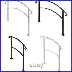 VEVOR Fits 3/4/5Steps Wrought Iron Handrail Arch Outdoor Steps Matte White/Black