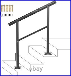 VEVOR Handrail Fits 1 or 3 Steps, Handrails Real Iron Metal Material, Real Wrought