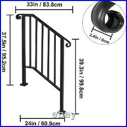 VEVOR Handrail Picket #2 Fits 2 or 3 Steps Outdoor Stair Rail Wrought Iron