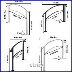 VEVOR Wrought Iron Handrail Arch Fits 3/4/5Steps Outdoor Steps Matte White/Black