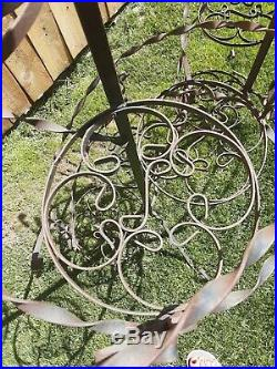 VTG Wrought Iron Metal Plant Stand 51 Spiral Stairs 5 Tier withTop Basket Brown