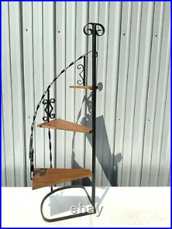 Vintage Wrought Iron Plant Stand 3 Tier Staircase Spiral Stair Step Mcm Scrolled