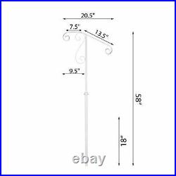 White Single Post Handrail Wrought Iron Post Mount Step Grab Supports in