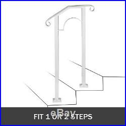Wrought Iron Handrail Arch #1 Fits 1 or 2 Steps Outdoor Hand Rail Matte White