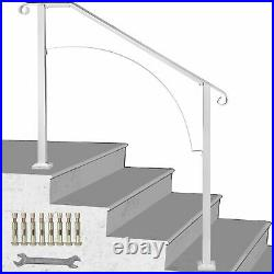Wrought Iron Handrail Arch #3 Fits 3 Or 4 Steps For Outdoor Steps Matte White