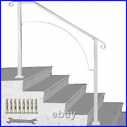 Wrought Iron Handrail Arch #4 Fits 4 Or 5 Steps For Outdoor Steps Matte White