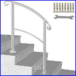 Wrought Iron Handrail Arch Fits 1 or 3 Steps Outdoor Steps Hand Rail White