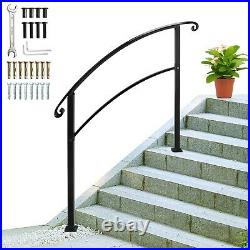Wrought Iron Handrail Arch Fits 3/4/5Steps Outdoor Steps Matte White/Black