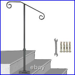 Wrought Iron Handrail Fits 1-2 Steps Steel Grab Rail Single Post Railing withbase