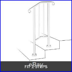 Wrought Iron Handrail Picket #1 Fits 1 or 2 Steps for Outdoor Steps Matte White