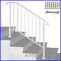 Wrought Iron Handrail Picket #3 Fits 3 or 4 Steps Outdoor Steps Matte White
