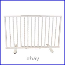 Wrought Iron Step Over Freestanding Pet Gate 24 in. To 41.25 in. White